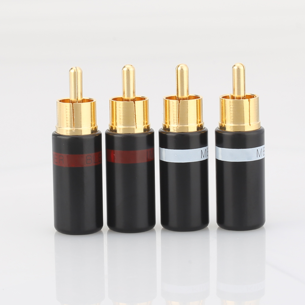 Hifi 4pcs Gold Plated Rca Plug Audio AMP Interconnect Rca Plug Socket Connector