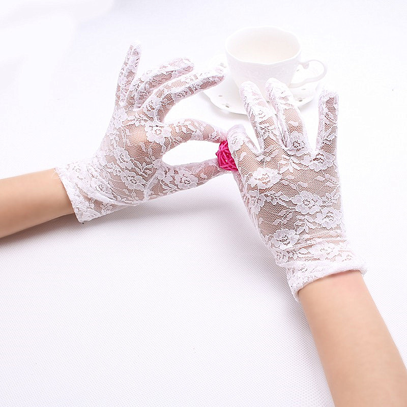 1Pair New Party Sexy Dressy Gloves Women Lady Lace Mittens Accessories Sunscreen Summer Full Finger Girls Fashion Lace Gloves