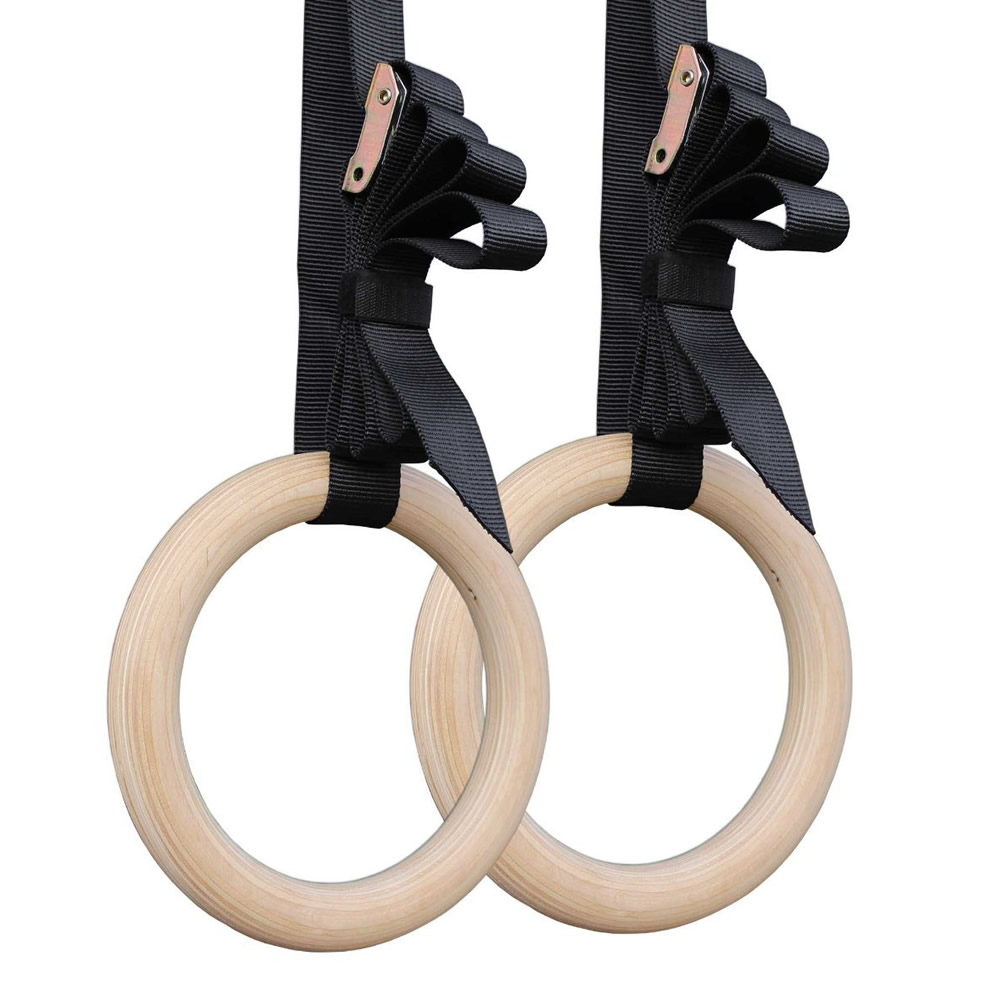 1 Pair Birch Wood Gymnastic Rings Pull Up GYM Ring For Home Fitness Strength Training. 2.8cm*4.5m Adjustable Straps For Optional