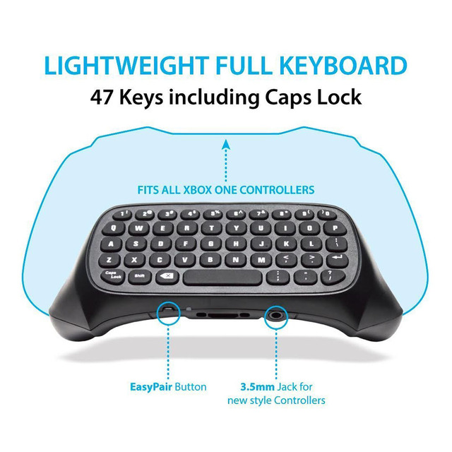 For Xbox One S Chatpad Mini Gaming Keyboard Wireless Chat Message KeyPad with Audio/Headset Jack for Xbox One Elite & Slim Gam 4