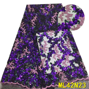 BEAUTIFICAL net laces with sequins tissu afrcian lace fabric 5 yards embroidery lace nigerian ML42N23