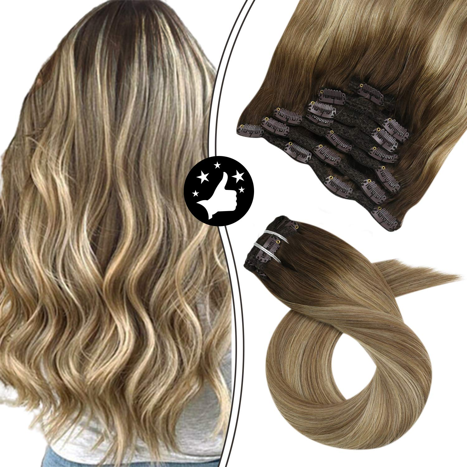 Clip in Hair Extensions 100 Real Human Hair Natural Straight Double Weft Full Head Machine Made Remy Brazilian Extensions
