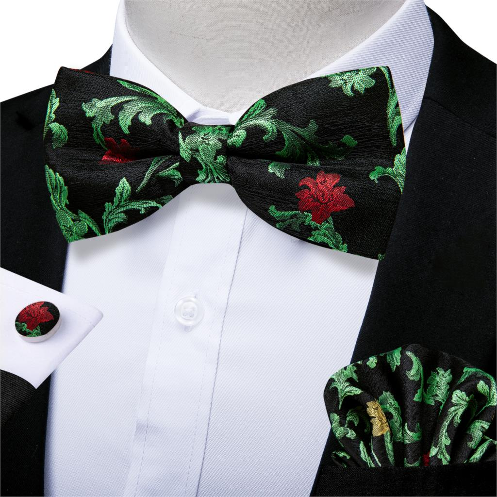 Men's Silk Pre Tied Bow Tie For Men Christmas Butterfly Bow Pocket Square Cufflinks Set Green Party Tuxedo Floral Bowtie DiBanGu
