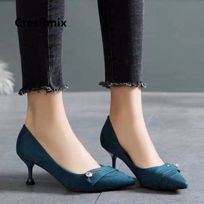 Cresfimix Women Classic High Quality Pointed Toe Navy Blue High Heel Shoes Ladies Casual Black Pumps Zapato Negro Tacon B5704