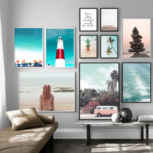 Lighthouse Pineapple Coconut tree Stone Wall Art Canvas Painting  Nordic Posters And Prints Pictures For Living Room