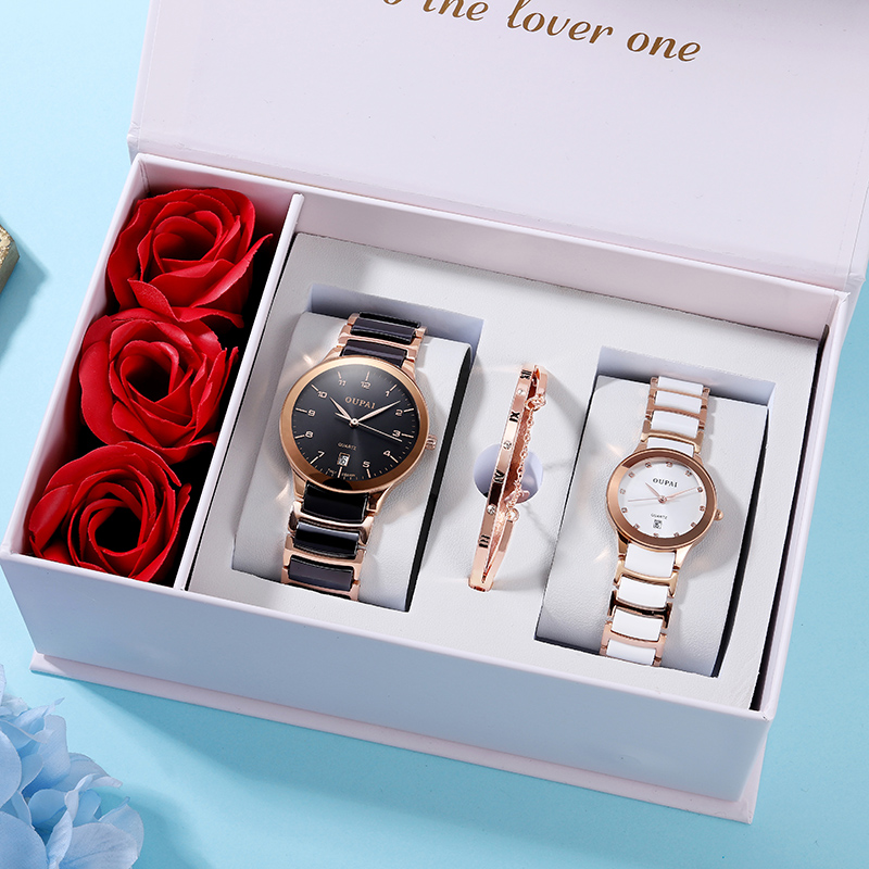 OUPAI Lover Watch Couple Ceramic Watch Black White Pair Watch Quiz Water Resistance Elegant Watch  With Ross Gift Box