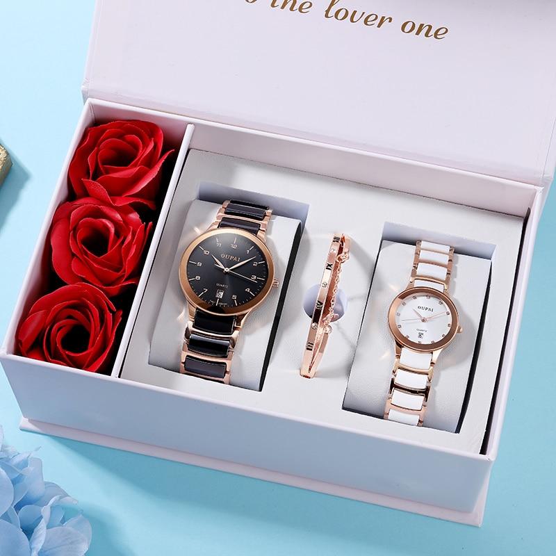 Relógio de Cerâmica Resistência à Água Relógio com Caixa Oupai Amante Assistir Casal Preto Branco Par Relógio Quiz Elegante Presente Ross