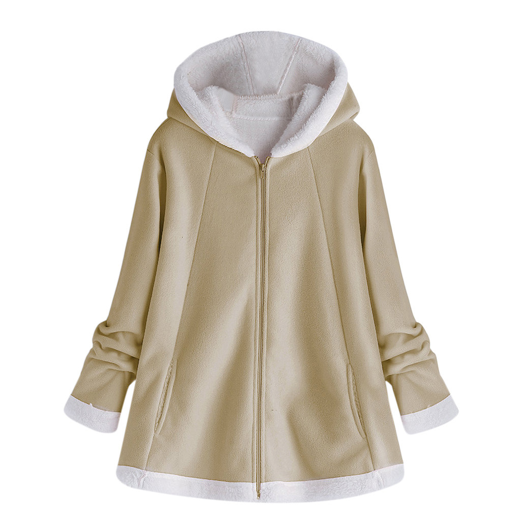 H6d0b31e1e68e4781b3c346a3533402091 women's autumn jacket Winter warm solid Plush Hoodie Coat Fashion Pocket Zipper Long Sleeves outwear manteau femme plus size 5XL