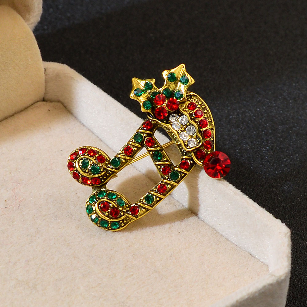 Rhinestones Musical Notes Alloy Brooch Music Jewelry Crystal Pin