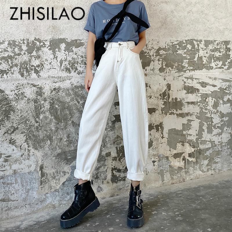 White High Waist Jeans Women Plus Size Straight Wide Leg Loose Denim Pants Jeans Spring 2020 Vintage Boyfriend Mom Jeans Maxi