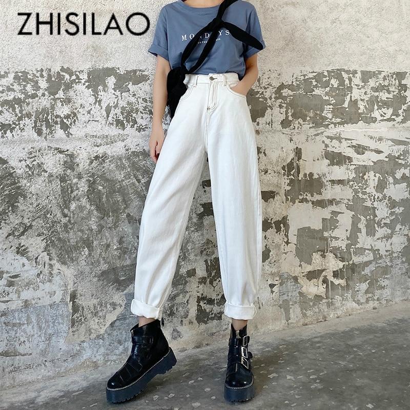 White High Waist Jeans Women Plus Size Straight Wide Leg Loose Denim Pants Jeans Spring 2020 Vintage Boyfriend Mom Jeans Maxi