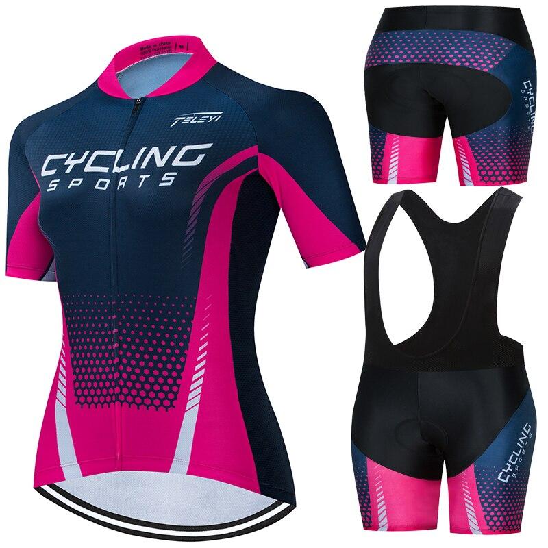 女性サイクリングジャージ半袖セット女性サイクリング服ファッションレジャードレスバイクサイクルシャツ女性通気性速乾性