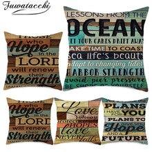 Fuwatacchi, funda de cojín de lino con letras Vintage oscuras, funda de almohadilla de pared de madera con pintura de palabras para sofá de casa, funda de almohada decorativa