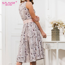 S.FLAVOR Casual Women Sleeveless Dress Summer Retro Floral Print Pleated Sexy Dress O Neck A Line Vintage Spring Party Vestidos