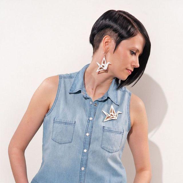 Nouvelle mode grand acrylique Origami grue balancent boucles doreilles pour femmes fille oiseau boucles doreilles bijoux personnalité pour les femmes