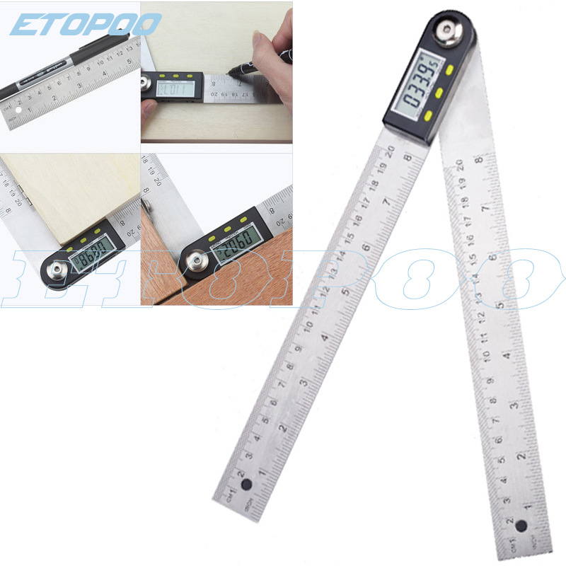 Hobbit New Products 200 Stainless Steel Digital Angle Ruler Angle Instrument Protractor Versatile Angle Ruler