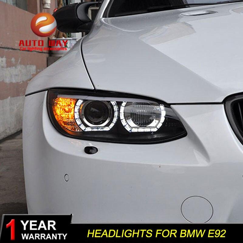Boîtier de lampe frontale de style de voiture pour BMW M3 328i 335i 330i E92 E93 2006 2012 phares phare LED lentille DRL Double faisceau bi xénon - 2