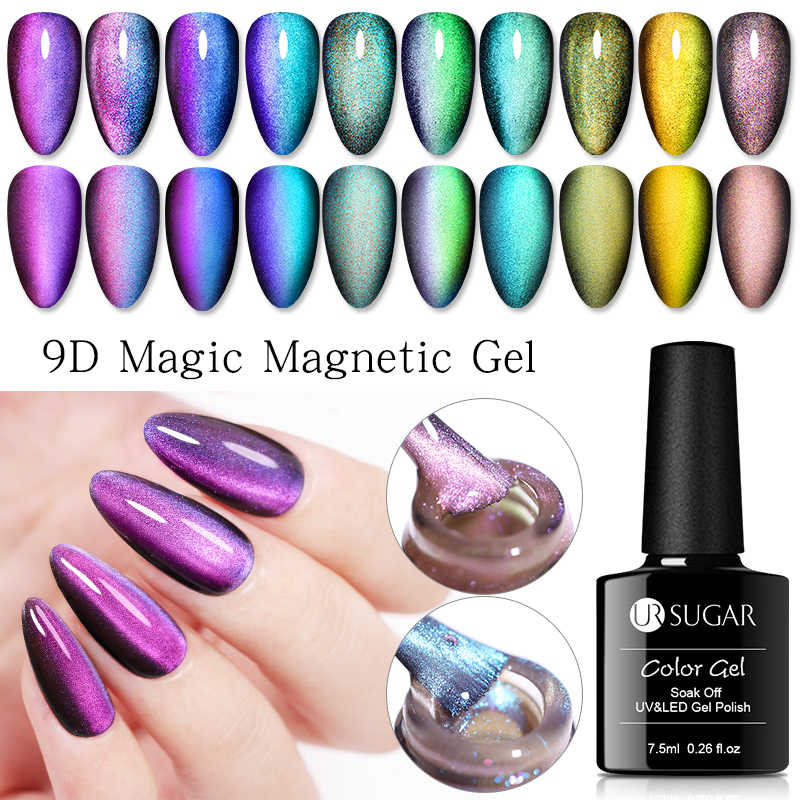 UR Gula 9D Galaxy Cat Eye Nail Gel Chameleon Magnetic Rendam Off UV Nail Varnish 5D/7D 7.5 Ml semi Permanen Gel Manicure Lacquer