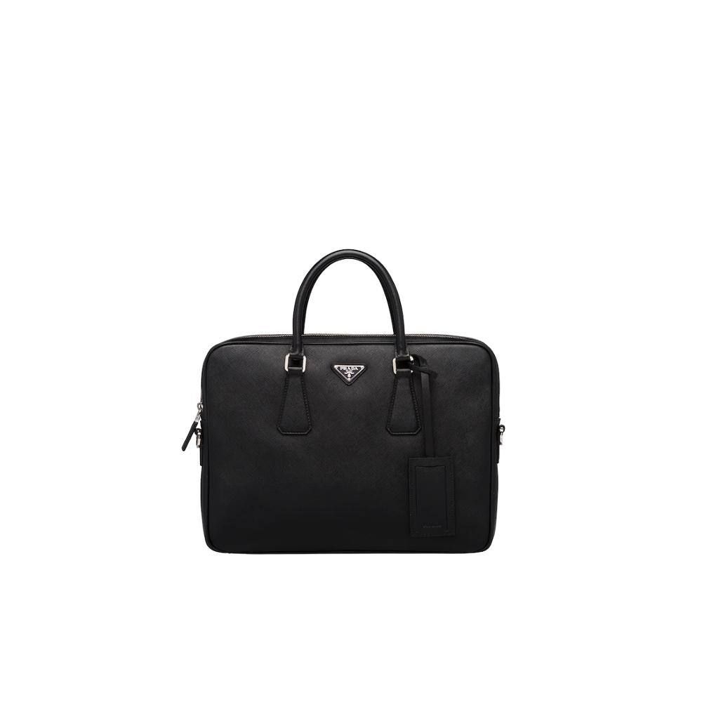 Prada Leather Briefcase Men Male Laptop Bag For Men Messenger Bags 2VE368_9Z2_F0002_V_OOX