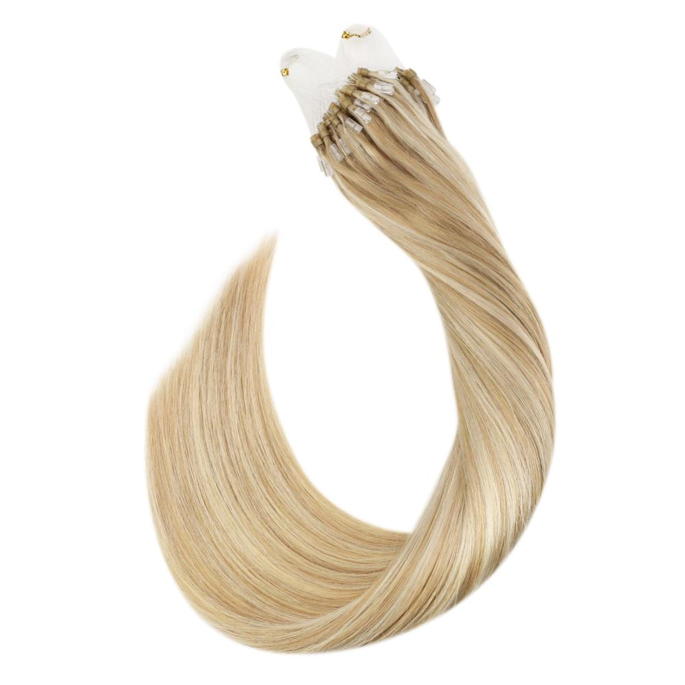 Ugeat Micro Loop Hair Extensions P27/613 Michine Remy Human Hair Straight 14-24inch 1g/strand Micro Ring Hair Extensions