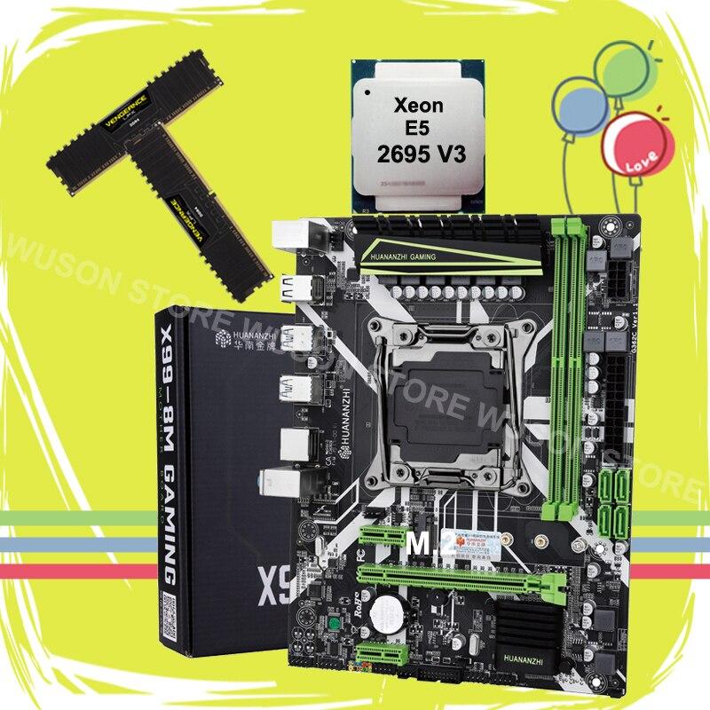 Brand HUANANZHI X99 LGA2011-3 Motherboard Bundle X99 Motherboard With M.2 NVMe Slot CPU Xeon E5 2695 V3 RAM 32G(2*16G) 2400 DDR4