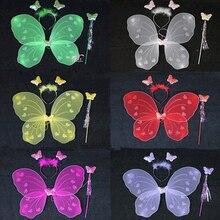 3Pcs/set Princess Kids Baby Girls Butterfly Wing Wand Headba