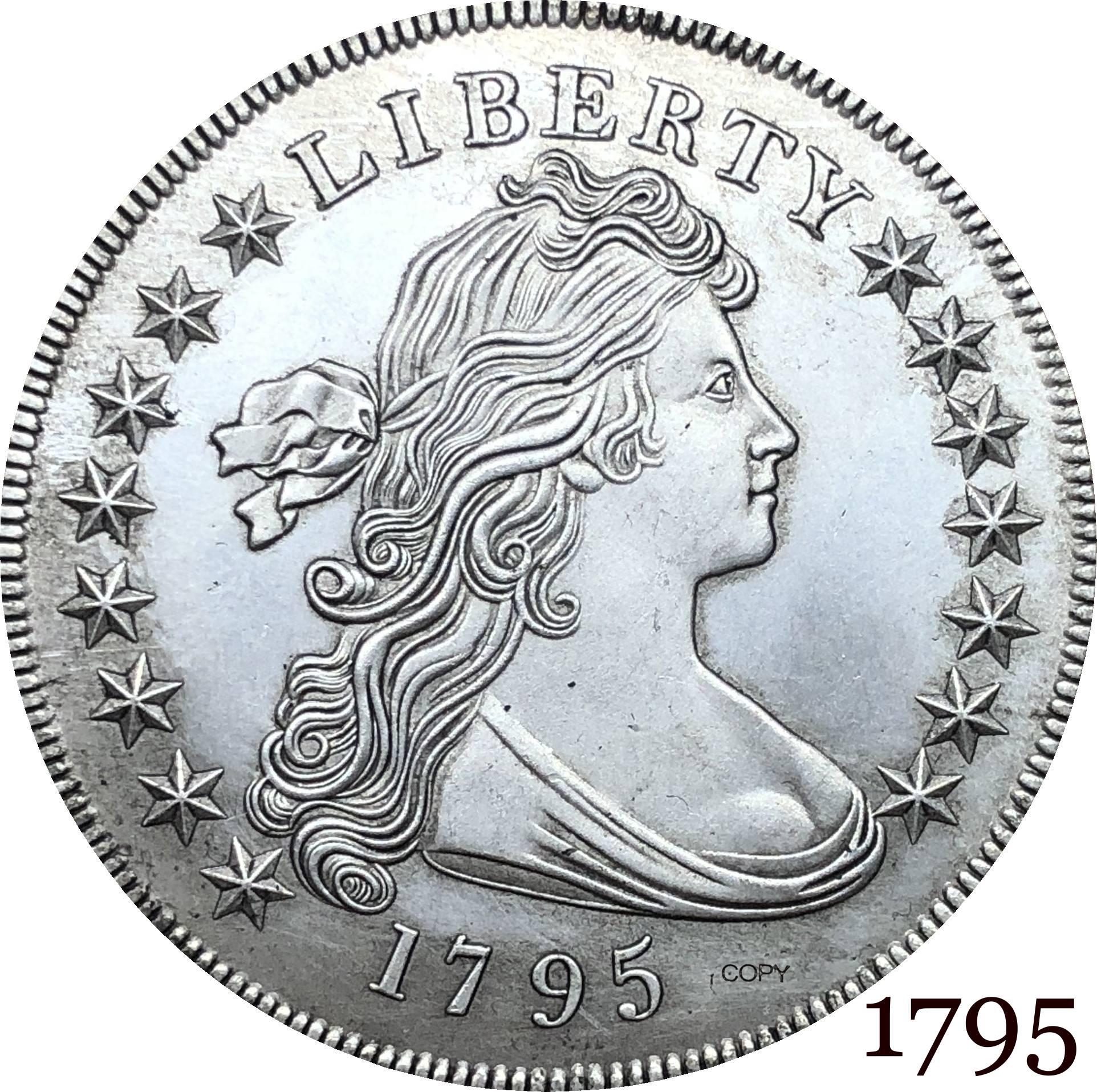 Estados unidos da américa moeda 1795 liberdade drapeado busto um dólar pequena águia cupronickel prata chapeado cópia moedas