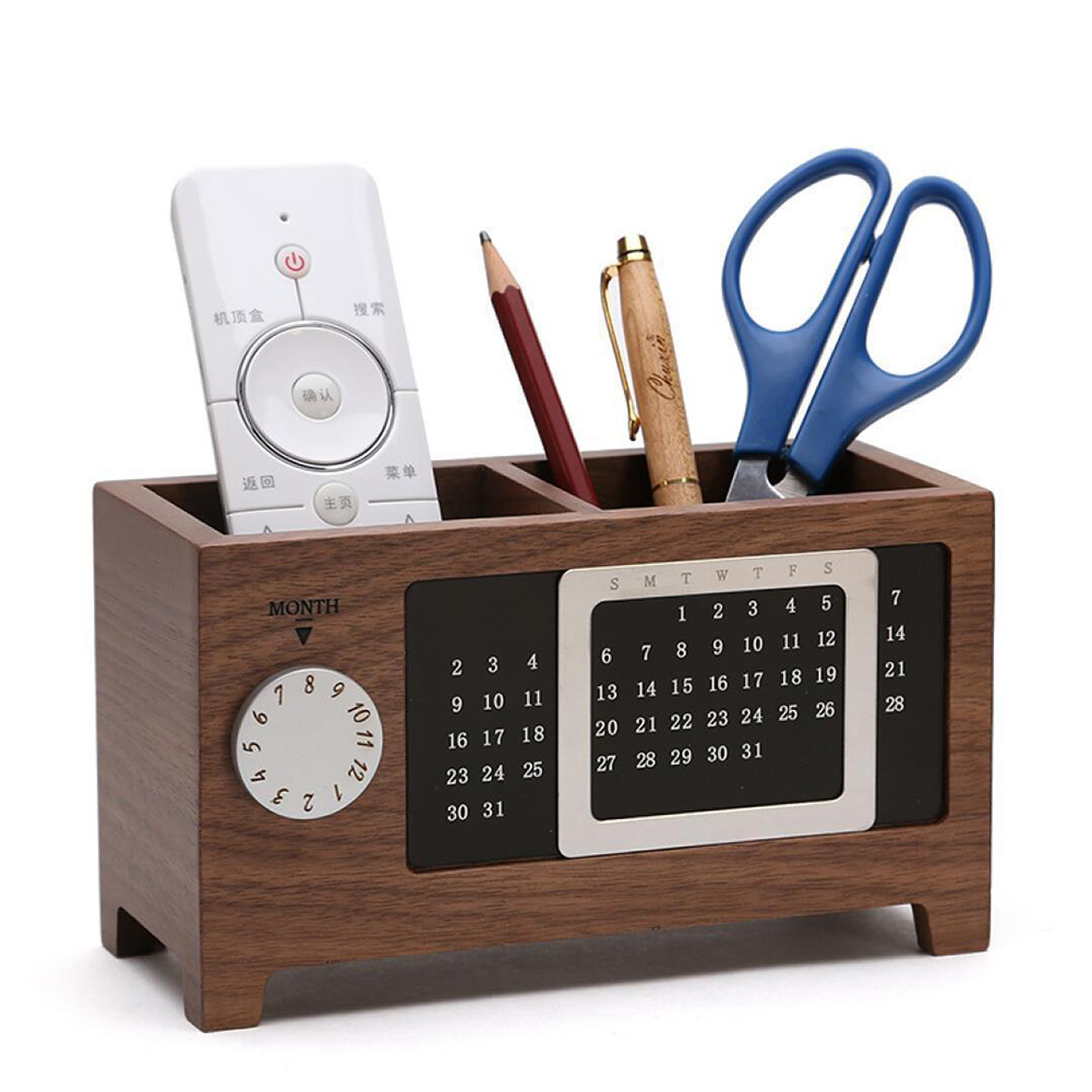 Wooden Pen Holder School Office Desk Organizer Table Pen Pencil Container 2 Grids Storage Box With Calendar