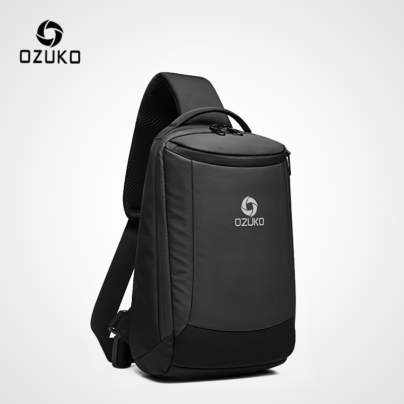 OZUKO New Men's USB Charging Chest Bag Water Repellent Crossbody Bag Male Large Capacity Shoulder Bag Short Trip Messengers Bags