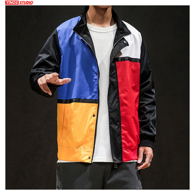 Dropshipping Male Streetwear Fashion Patchwork Hip-Hop Tops Japanese Outdoor Pocket Sport Jacket 2019 Autumn Baggy Coats