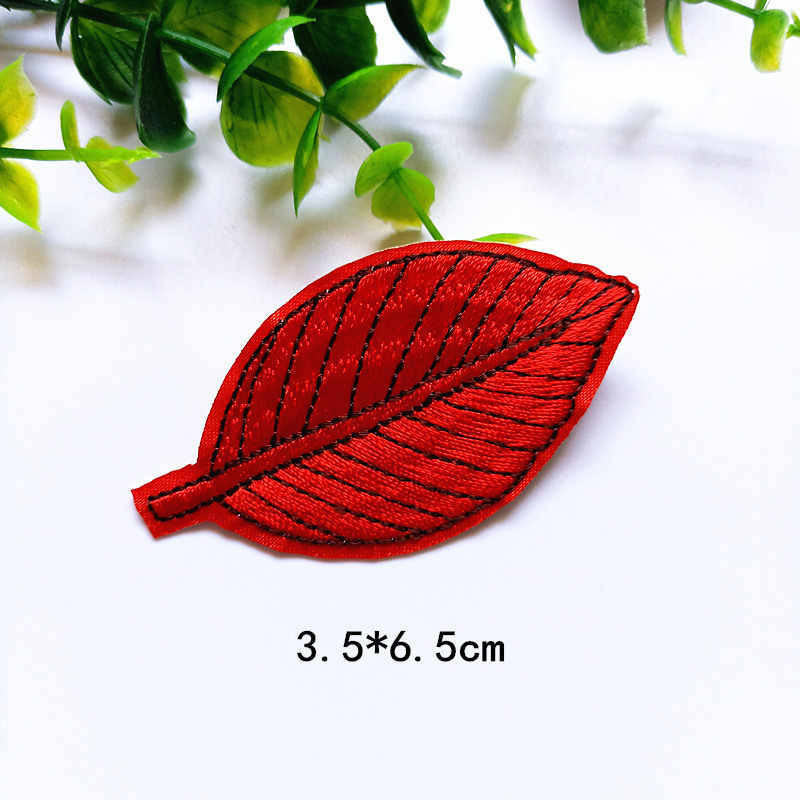1 PCS Rainbow Green Color Leaf Patches Iron On Embroidered Patch Applique for Garment T Shirts Pants Bags DIY Craft Supplies