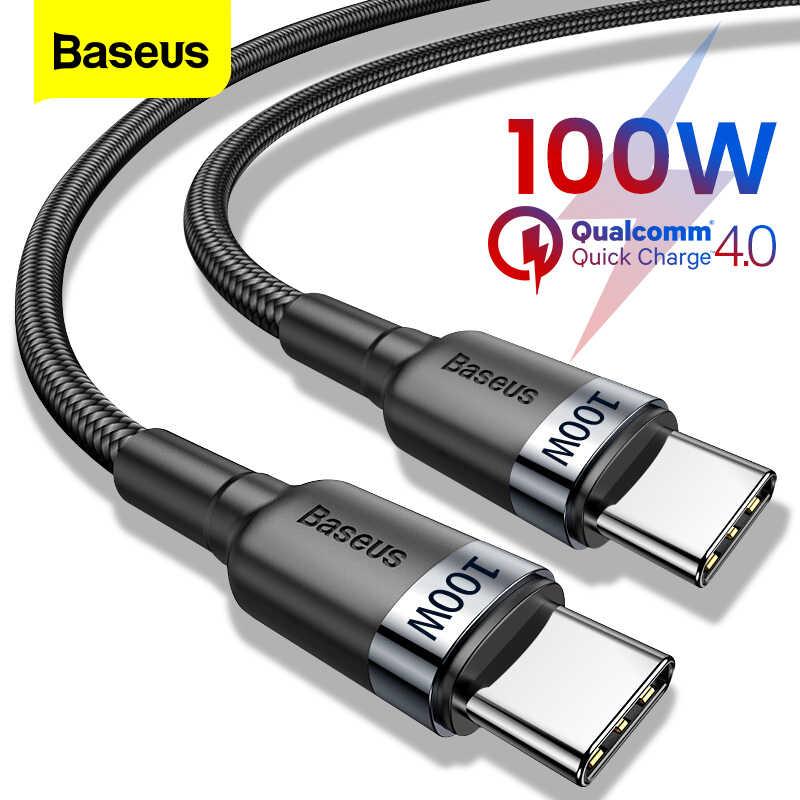 BASEUS 100W Usb C untuk USB Tipe C Kabel untuk Huawei Samsung S20 QC 3.0 Cepat Charge Data Kabel untuk Xiaomi Macbook Pro Usb C Kabel