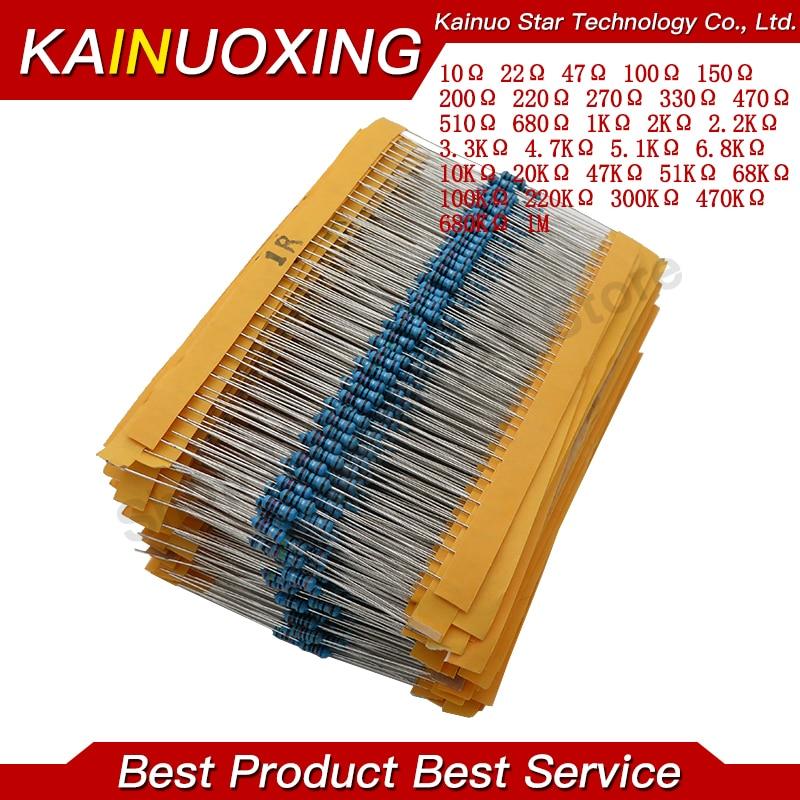 600pcs/set 30 Kinds 1/4W Resistance 1% Metal Film Resistor Pack Assorted Kit 1K 10K 100K 220ohm 1M Resistors 300pcs/set 1
