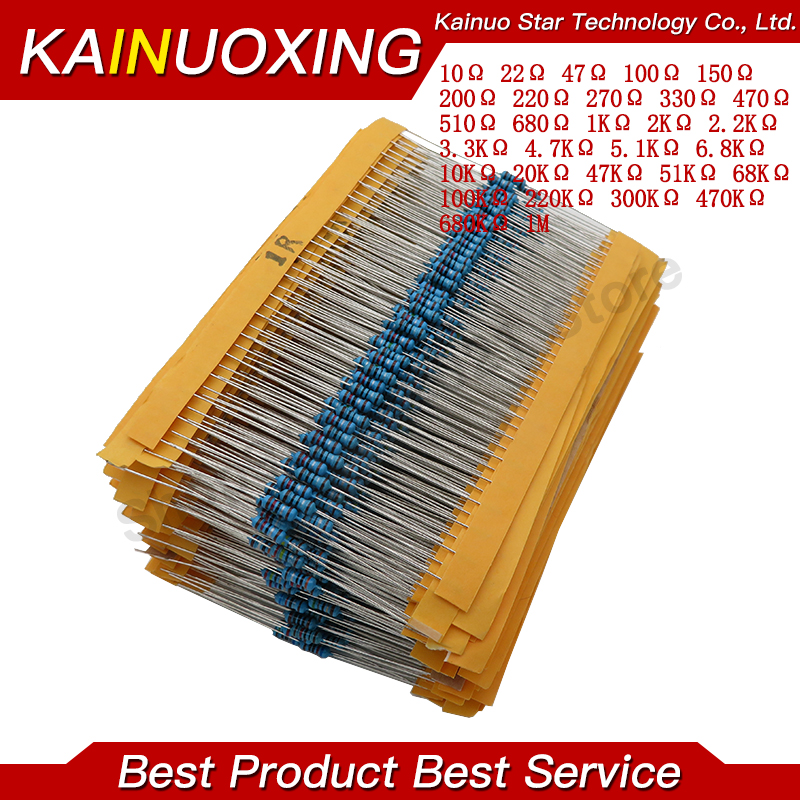 600pcs/set 30 Kinds 1/4W Resistance 1% Metal Film Resistor Pack Assorted Kit 1K 10K 100K 220ohm 1M Resistors 300pcs/set