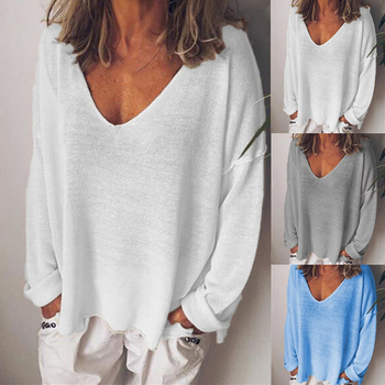 Harajuku Streetwear New Fashion Loose Solid tops Long Sleeve V-neck New Women's Large Size T-Shirt brown v neck long sleeves loose plunge t shirt dress