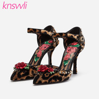 New Leopard Print Rose Flower Party Wedding Shoes Woman T strap Crystal Thin High Heel Women Pumps Horse Hair Zapatos De Mujer