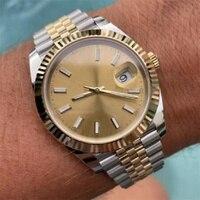 Reloj deportivo mecánico automático para hombre, pulsera de cristal de zafiro con esfera negra y blanca, de acero inoxidable DATEJUST, 41mm