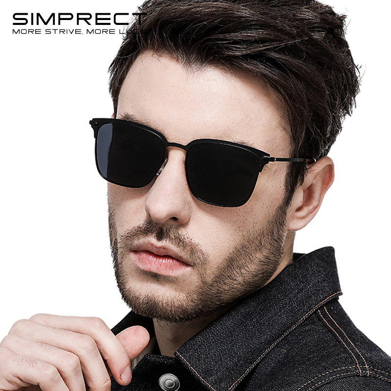 SIMPRECT Polarized Sunglasses Men UV400 High Quality Square Sunglasses Retro Sun Glasses For Men Anti-glare Driver's Oculos