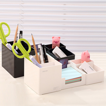 цены Deli Multi Function Office Box Pen Holder Storage Box Stand For Pens And Pencils Pencil Pen Holder Storage Pen Desk Organizer