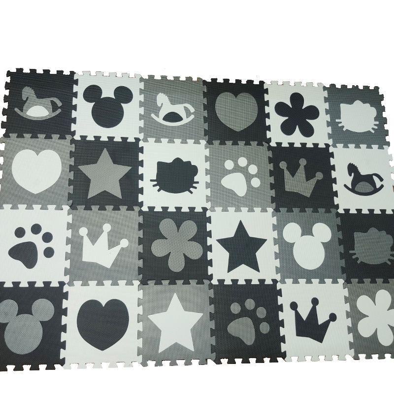 Kids Play Mat Baby Foam Puzzle Tiles Room  Game Floor Grey Black White Jigsaws Mickey Star  32x32cm Thick 10mm