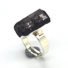 FYJS Unique Silver Plated Irregular Shape Black Tourmaline Stone Resizable Ring for Party Gift Jewelry