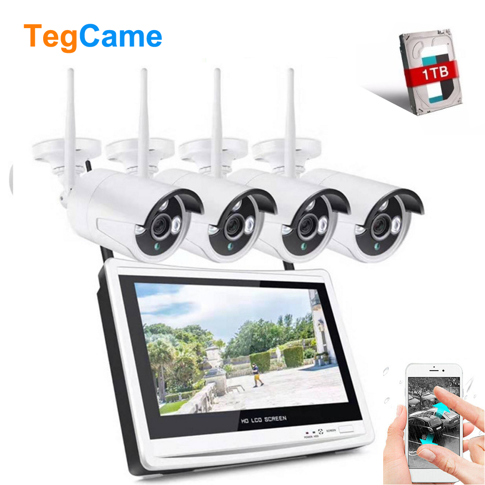 anni 1080P 4CH Wireless Security Camera System 2MP WIFI NVR with 1TB Hard Drive