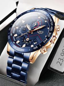 LIGE 2020 новые модные мужские часы с нержавеющей сталью Топ бренд класса люкс Спортивный Хронограф Кварцевые часы для мужчин Relogio Masculino