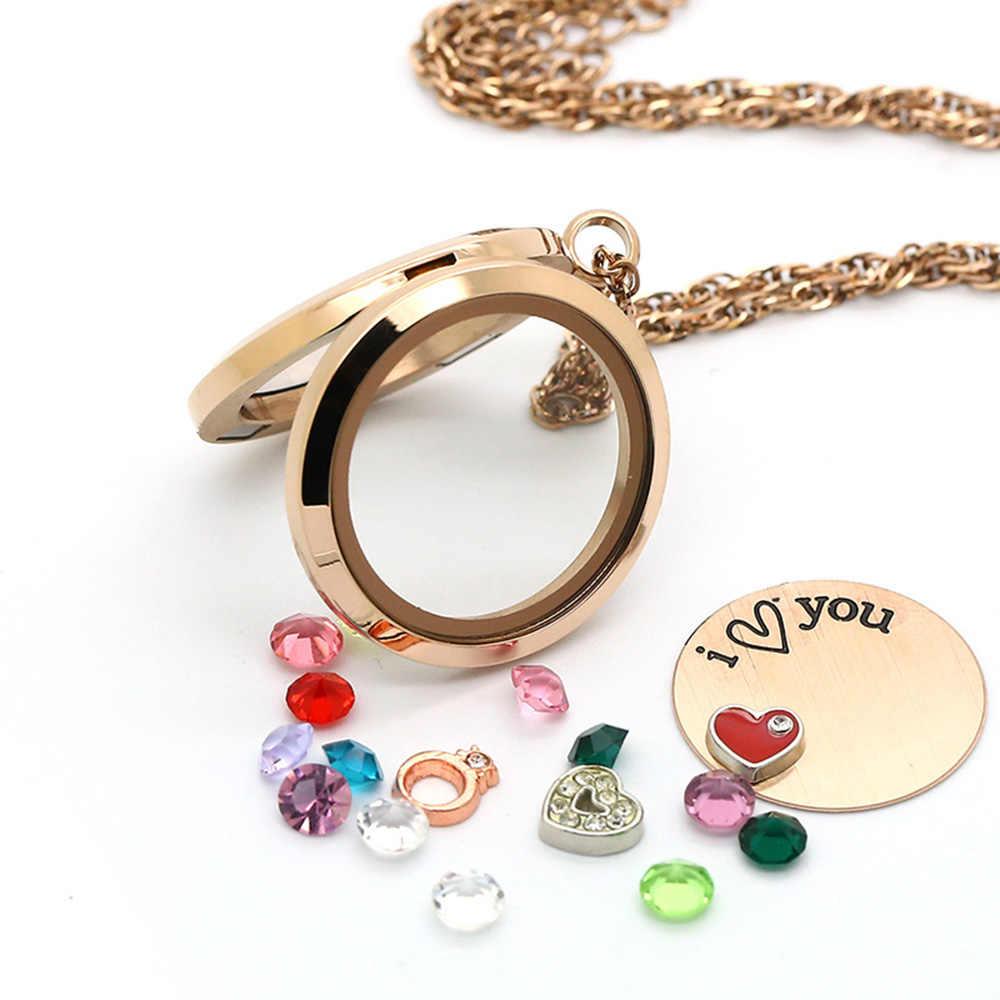 30mm Różowe złoto Okrągły Magnetyczny Pływający Urocze Żywej Pamięci Locket Naszyjnik Ze Stali Nierdzewnej Wisiorek walentynki prezent