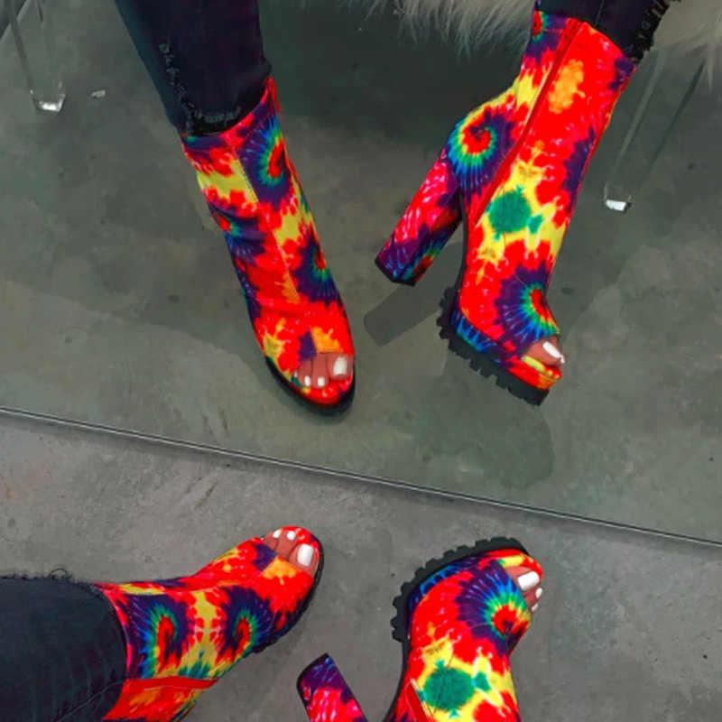 Botines de leopardo con Puntera abierta y cremallera para mujer MCCKLE zapatos de Primavera de moda para mujer con plataforma con patrón de serpiente