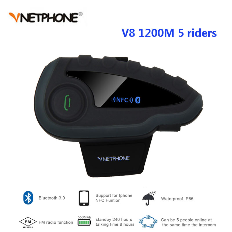 V8 Intercom Without Remote Control 5-Way Group Talk NFC 1200M Bluetooth Motorcycle Helmet Headset With FM Radio