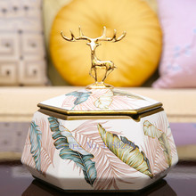 Ceramics-Ashtray Cover Storage-Decoration Creative Modern Golden Home with Deer Colored