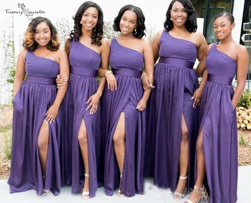 2020 Purple Bridesmaid Dresses Long One Shoulder High Split Pockets Zipper Simple Wedding Guest Dress Maid Of Honor Gowns Cheap
