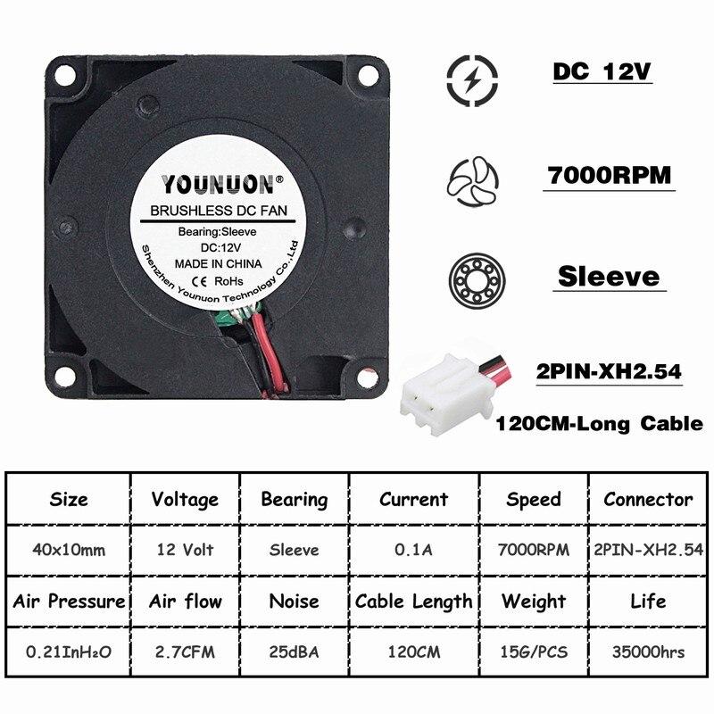 Комплект из 2 предметов, 40 мм 3D-принтеры вентилятор 12В 24В 5В 4010 воздуходувка принтер аксессуары для систем охлаждения DC Турбовентилятор Радиальные Вентиляторы 40x40x10 мм - Цвет лезвия: 12V Oil 100CM Wire