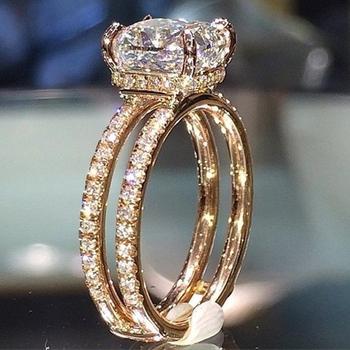 Luksusowe kobiece duże kryształowe cyrkonie kamienny pierścień śliczne 14KT żółte złoto wypełnione obrączki obietnica obrączki dla kobiet tanie i dobre opinie Romad Ze stopu cynku Unisex Cyrkonia Party Brak Fashion Moda Punk Wszystko kompatybilny Koktajl pierścień ROUND CHS-017